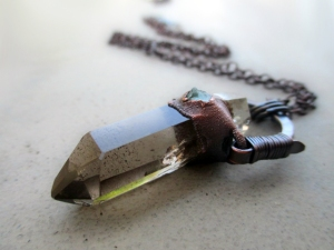 Smoky Citrine Inclusion Quartz Blue Apatite Amulet by Silvia Peluso