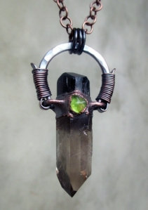 Smoky Quartz Black Tourmaline Peridot Amulet by Silvia Peluso