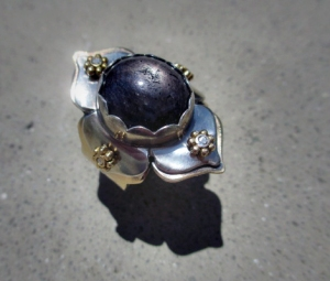 Star Sapphire Lotus Ring by Silvia Peluso