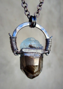 Amulet with Phatom Quartz , Aquamarine, and Double Terminated Quartz by Silvia Peluso
