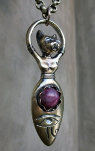 Bast Goddess with Ruby by Silvia Peluso