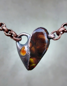 Sacral Chakra Choker with Fire Agate and Fire Opal by Silvia Peluso