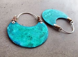 Turquoise Hoops Big NuGold by Silvia Peluso