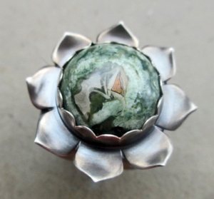 Bliss Ring with Rainforest Jasper by Silvia Peluso
