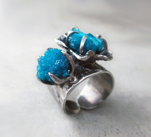 Cavansite Flower Ring by Silvia Peluso