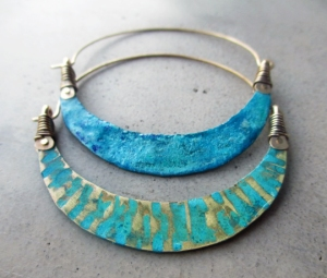 Crescent Moon Turquoise Hoops by Silvia Peluso