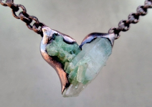 Green Tourmaline Quartz Heart by Silvia Peluso