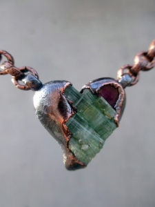 Heart Necklace with Green and Pink Tourmaline bty Silvia Peluso