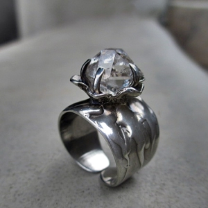 Herkimer Flower Ring by Silvia Peluso