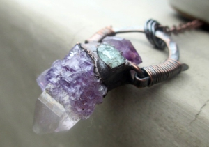 Tribal Amulet with Quartz with Fluorite Amethyst Aquamarine by Silvia Peluso