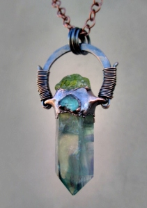 Blue Fluorite Peridot Blue Apatite Amulet by Silvia Peluso