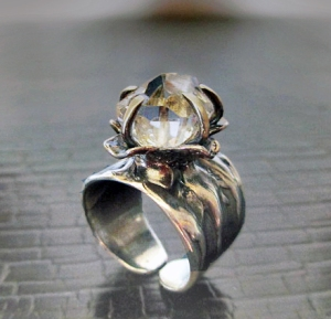 Herkimer Diamond Flower Ring by Silvia Peluso