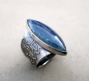Kyanite Lotus Band Ring by Silvia Peluso