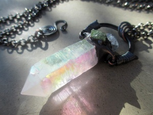 Opal Aura Celestite Green Tourmaline by Silvia Peluso