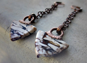Petrified Wood Earrings by Silvia Peluso