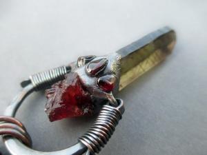 Smoky Citrine Lemurian Spessartine Garnet Amulet by Silvia Peluso